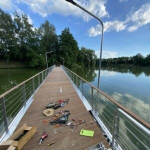 public lighting of pontoon bridge under construction at Lake Pusztaszentlaszlo